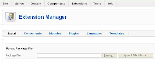 Extensions Manager Install Menu Joomla 1.5