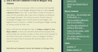 View of Blog Know How Site with Recent Comments Feed Widget Installed