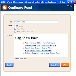 Add Site Feed Widget to Blogger Sidebar and Preview Site Feed of Recent Posts