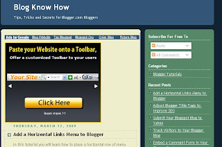 Blogger Sidebar Widget Featuring Recent Posts Feed on the Blog Know Know website