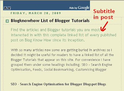blogger Blog with Subtitle Under Post for Emphasis and Search Engine Friendliness