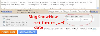 Set date options for Blogger posts