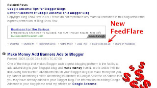 FeedFlare in Blogger Feed Redirected by Feedburner