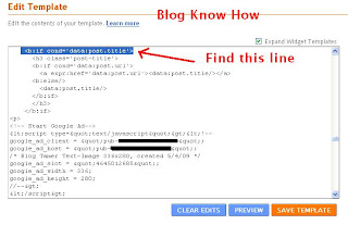Add Google Adsense Code to Blogger Template to Make it Appear Below Post Title
