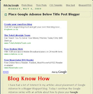 Google Adsense Placement Below Blogger Post Title