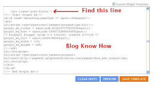 Add Google Adsense to Blogger Template to insert ad unit below post content