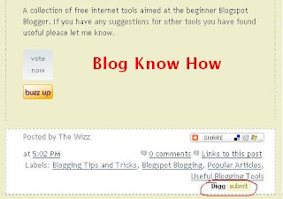 Add Digg Button to Below Blogger Blogspot Post Content