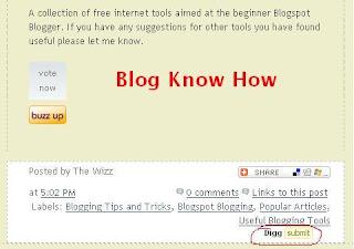 Add Digg Button to Below Blogger Blogspot Post Content