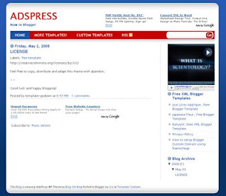 Free Blogger Blogspot Template - AdsPress Theme - 2 column, ads ready, white with red and blue highlights