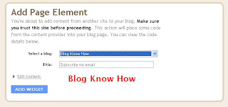 Blogger Add Page Element Page to insert email subscription widget into your blog