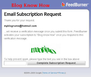 Feedburner Email Request screen with a captcha