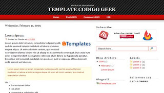 Free Blogger Template - Codigo Geek theme - 3 column, white, red, black, rss link, subscribe link, search box, fixed width