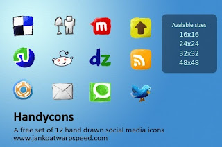 Free Social Bookmark Icons for Blogging - Handycons - 12 hand drawn icons