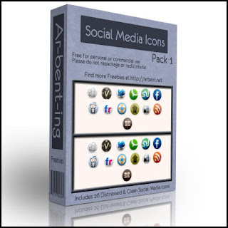 Free Social Bookmark Icons for bloggers - Social Media Icons Set - 26 free clean and distressed icons