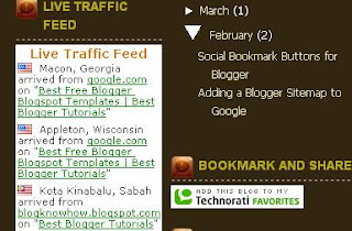Place a Feedjit Live Traffic Feed widget on a Blogger Blogspot blog