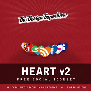 Free Social Bookmark Icon Set - Heart V2Icons Set - 39 icon set - Suitable for Bloggers