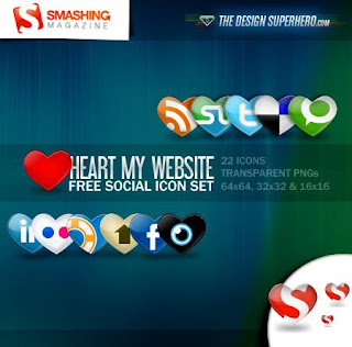 Free Social Bookmark Icon Set - Heart My Website Icons Set - 22 icons set - Suitable for Bloggers