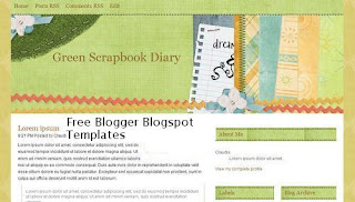 Green Scrapbook Diary - Free Blogger Template