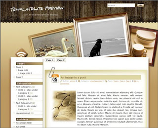 Photo Frame - Free Wordpress Theme - 2 column design, navigation menu, left sidebar, search box, date feature