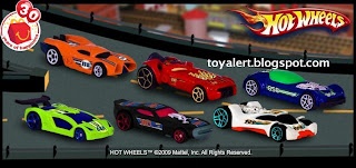McDonalds Hot Wheels Toys 2009 Promotion - Set of 6 - Vulture (white),Rocketfire (red),Ballistik (blue),Impavido 1 (green),Prototype H-24 (orange), Nitro Doorslammer (black)
