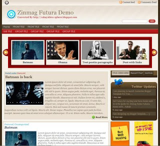Free Blogger Template -Zinmag Futura - 3 columns, red, rss link, search box, fixed width, twitter updates, navigation menu, content slider, featured post section, featured content glider, read more function