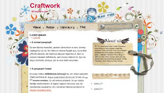 Craftwork - free Blogger template - 2 columns, right sidebar, top navigation menu, RSS subscribe, search box, fixed width, stylized flowers, stitching