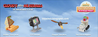 Burger King toys - Cloudy with a Chance of Meatballs 2009 - boat, rat bird,TV, truck