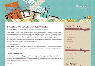 Memoriqu - Free Blogger Template for scrapbooking - 2 columns, right sidebar, 3 column footer, RSS subscribe, Twitter button, fixed width, scrapbooking header