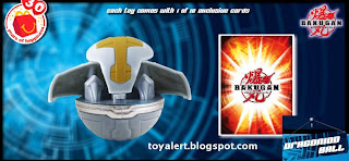 McDonalds Bakugan toys - transforming Bakugan balls - Dragonoid battle ball and detail of card back
