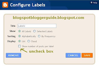 Turn Off Labels Counter in Blogger