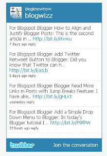 Twitter Profile Widget - how to insert into Blogger