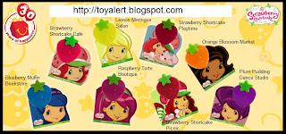 McDonalds Strawberry Shortcake Toys 2009 - Strawberry Shortcake Playtime, Strawberry Shortcake Picnic, Strawberry Shortcake Cafe, Orange Blossom Market, Plum Pudding Dance Studio, Raspberry Torte Boutique, Lemon Meringue Salon, Blueberry Muffin Bookstore