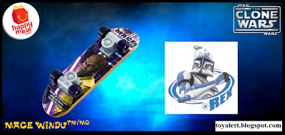 McDonalds Star Wars - The Clone Wars Happy Meal Toys 2010 - Mace Windu Mini Skateboard or Fingerboard