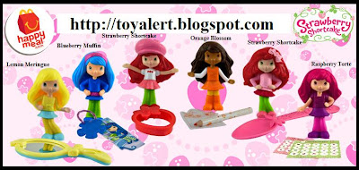 McDonalds Strawberry Shortcake Happy Meal Toy Promotion 2010 - Set of 6 toys - Strawberry Shortcake wearing hat, Strawberry Shortcake with bow in hair, Lemon meringue, Raspberry Torte, Blueberry Muffin, Orange Blossom