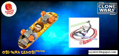 McDonalds Star Wars - The Clone Wars Happy Meal Toys 2010 - Obi-wan Kenobi Mini Skateboard or Fingerboard