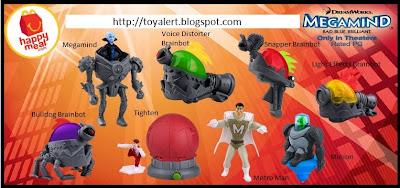 McDonalds Megamind happy meal toys - set of 8 toys - Metro Man, Megamind, Light Effects Brainbot, Bulldog Brainbot, Snapper Brainbot, Tighten, Minion, Voice Distorter Brainbot