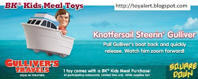 Burger King Gullivers Travels Kids Meal Toys - Knotfersail Steering Gulliver