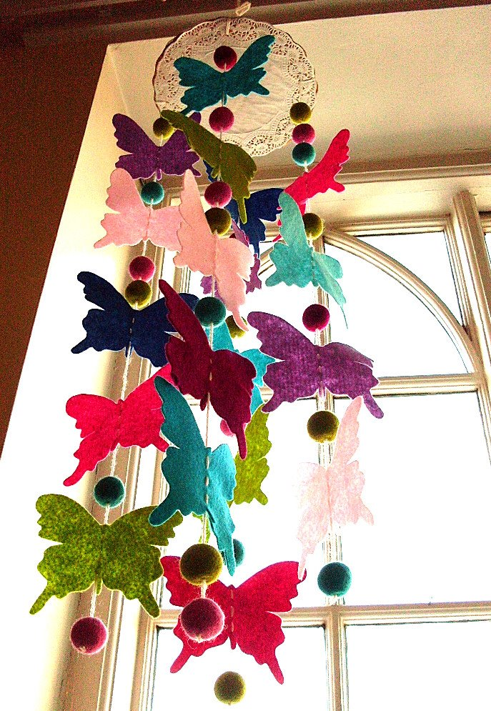 Creative ideas for you how to make a butterfly mobile for Making butterfly decorations