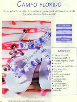 chinelos bordados com lentilhas