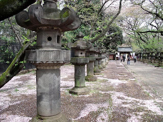 stone lanterns along the approach