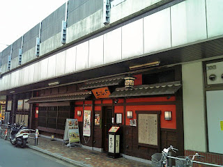 soba shop under railroad