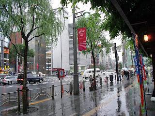 rainy street at ginza