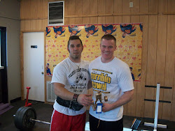 Ryan Tellberg and Abe Weins at The Tellberg's Dead Lift Championships in Dell Rapids SD