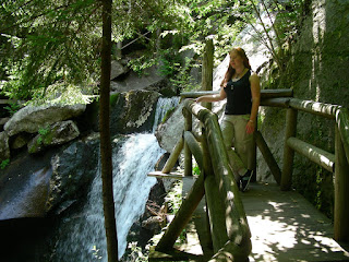 Abby at Lost River, admiring a waterfall