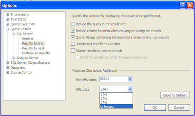 Query Options Dialog