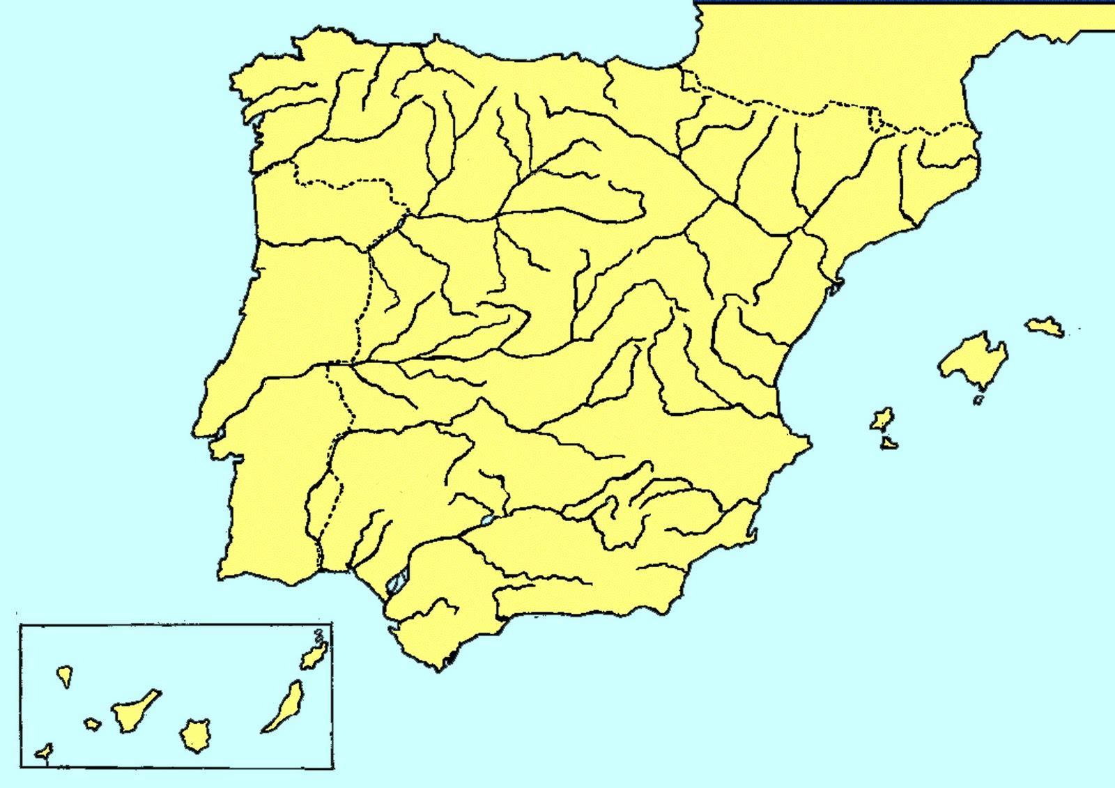 Mapa Rios Espaa Y Afluentes