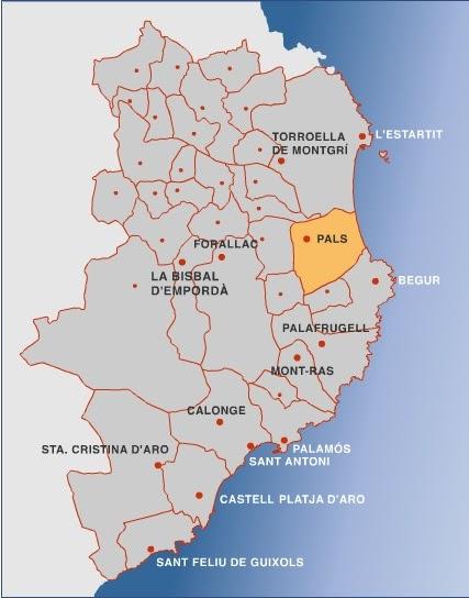 Cartes de Costa Brava, Espagne: Carte flash des villes en Costa Brava, Baix Emporda
