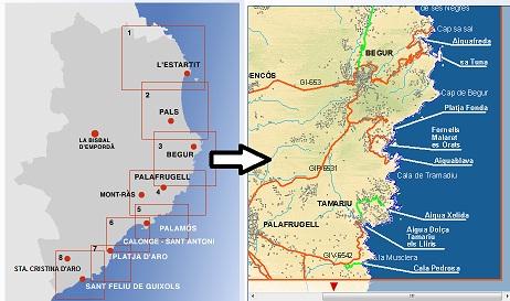 Cartes de Costa Brava, Espagne: Carte des plages de la Costa Brava