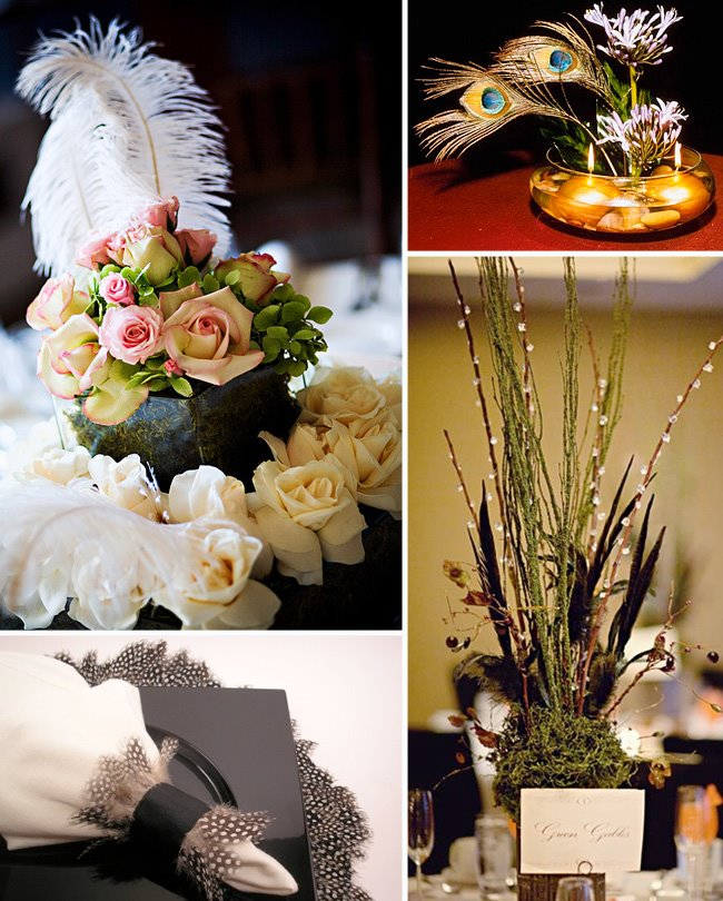 Oh he proposed centerpiece ideas feather