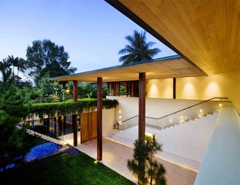 House with outdoor patios green roof and clear sided pool